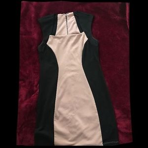 Forever 21 peachy/tan and black tight dress